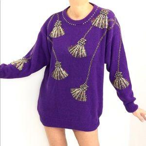 Vintage Purple Fireworks Beaded Sweater